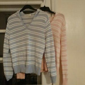2 hooded striped sweaters. Benefits animals.
